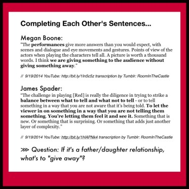 RoomInTheCastle: Megan Boone & James Spader on acting.